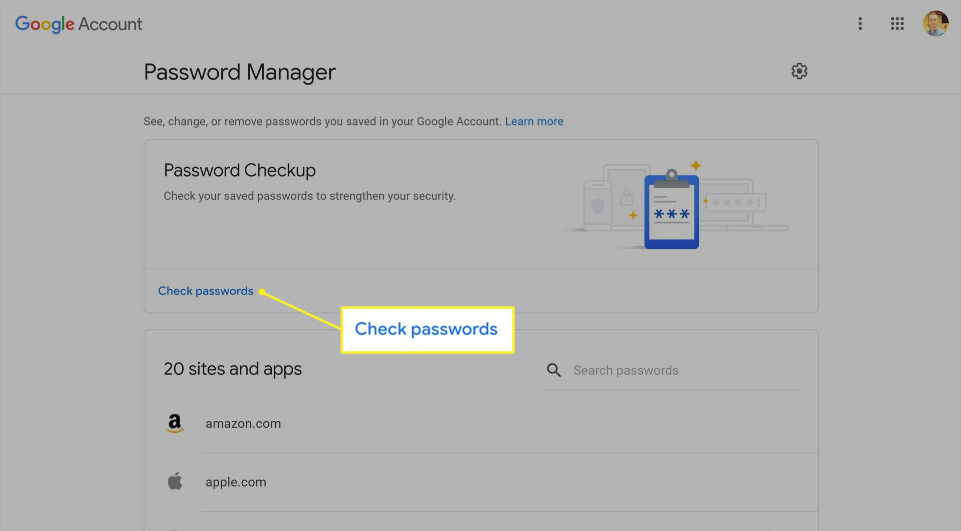Google password manager with Check passwords highlighted