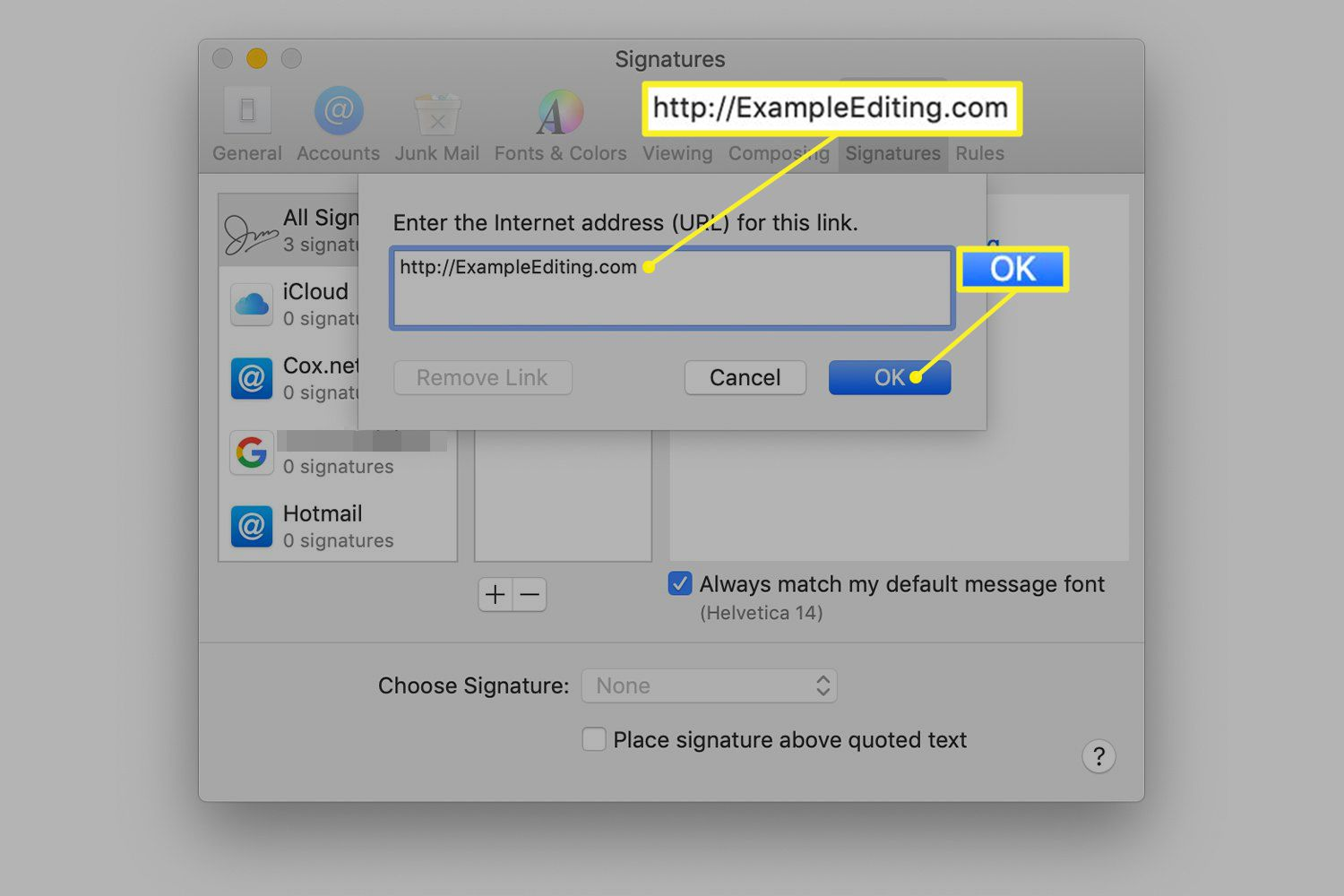 Signature preferences in macOS Mail