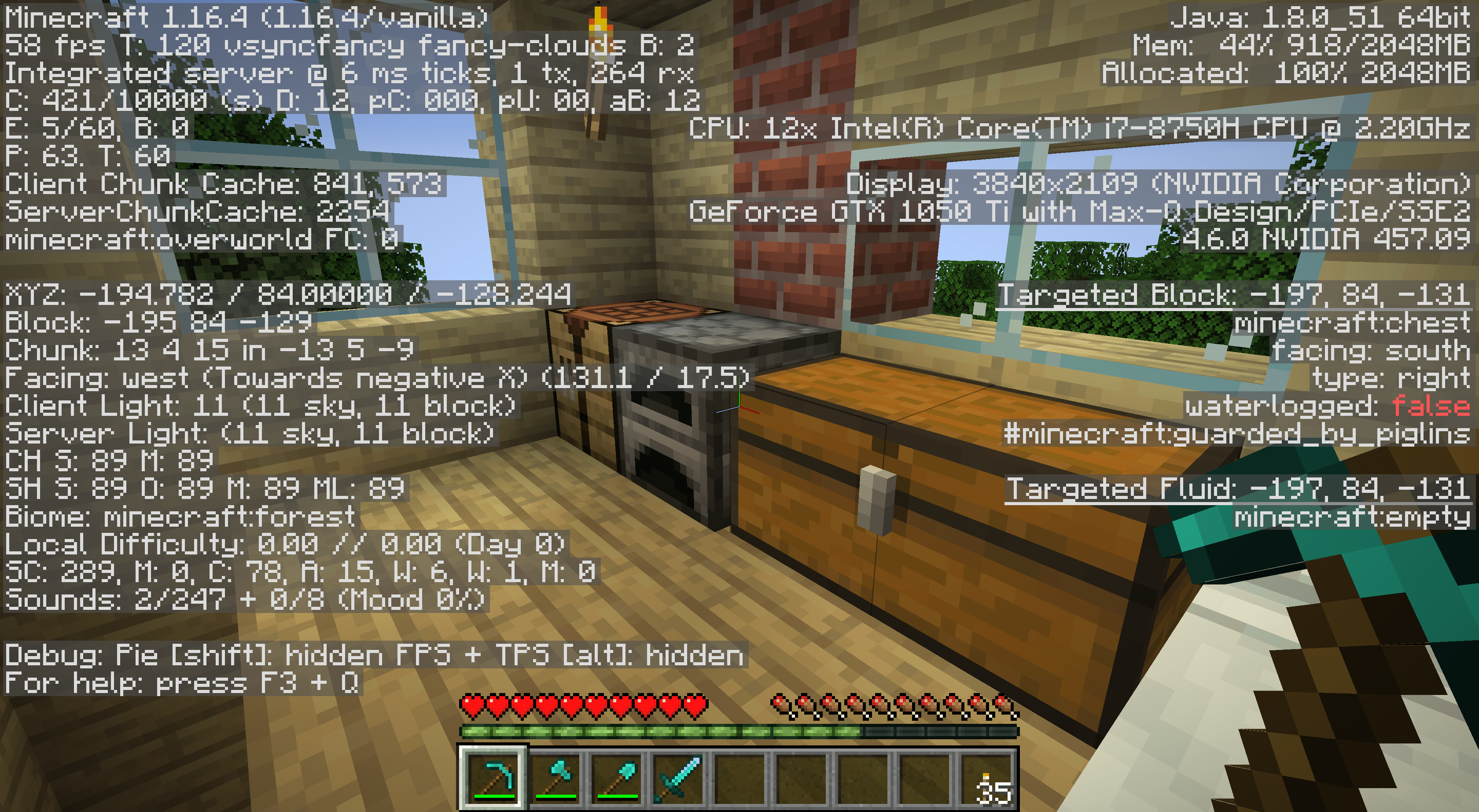 The F3 information readout in Minecraft.