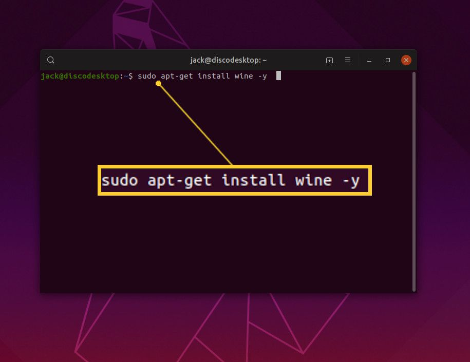Screenshot of installing WINE on Ubuntu.