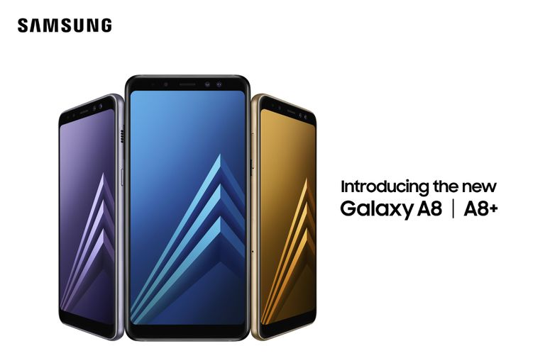 Samsung Galaxy A8 and A8+ smartphones side by side in various colors
