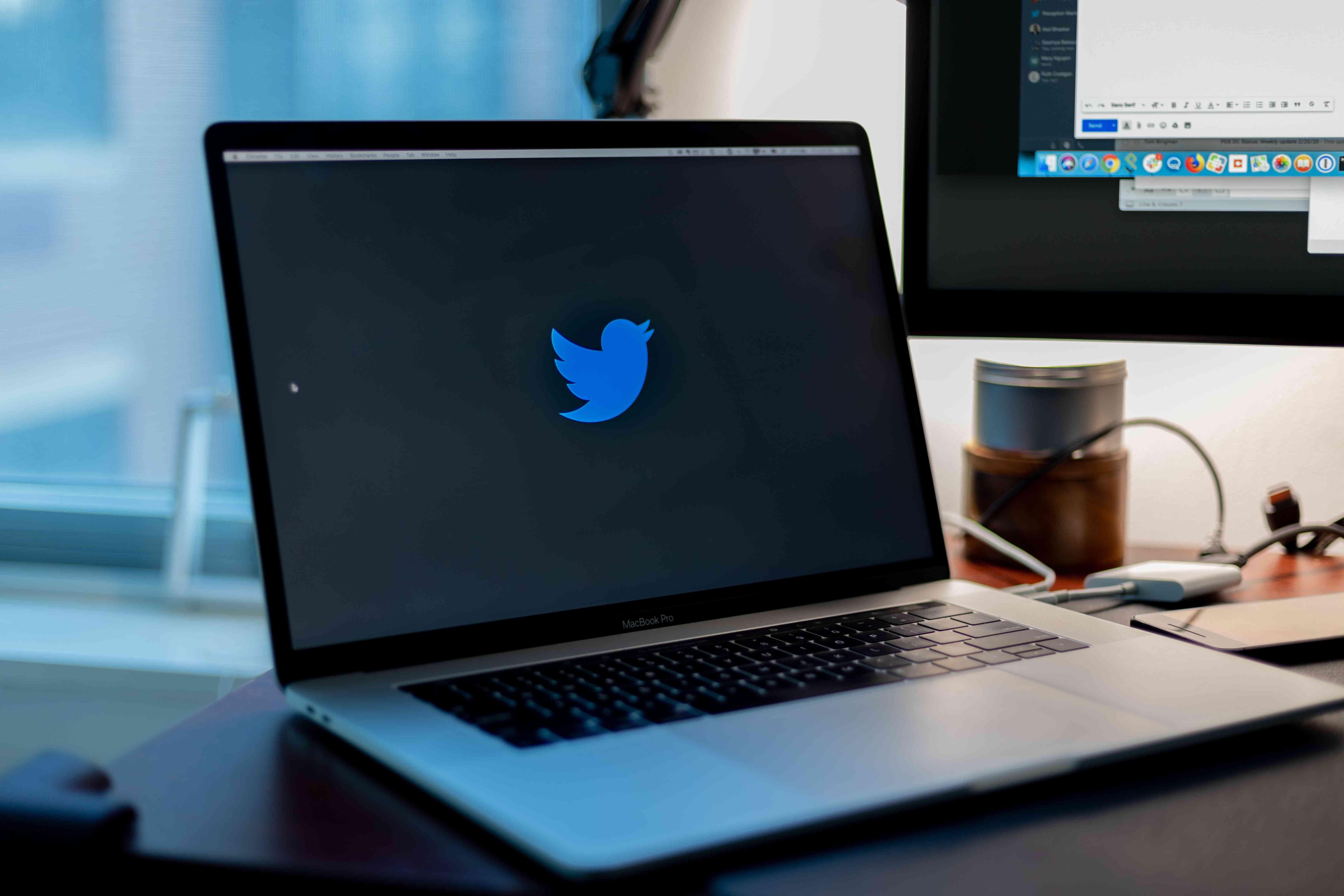 Twitter logo on a laptop