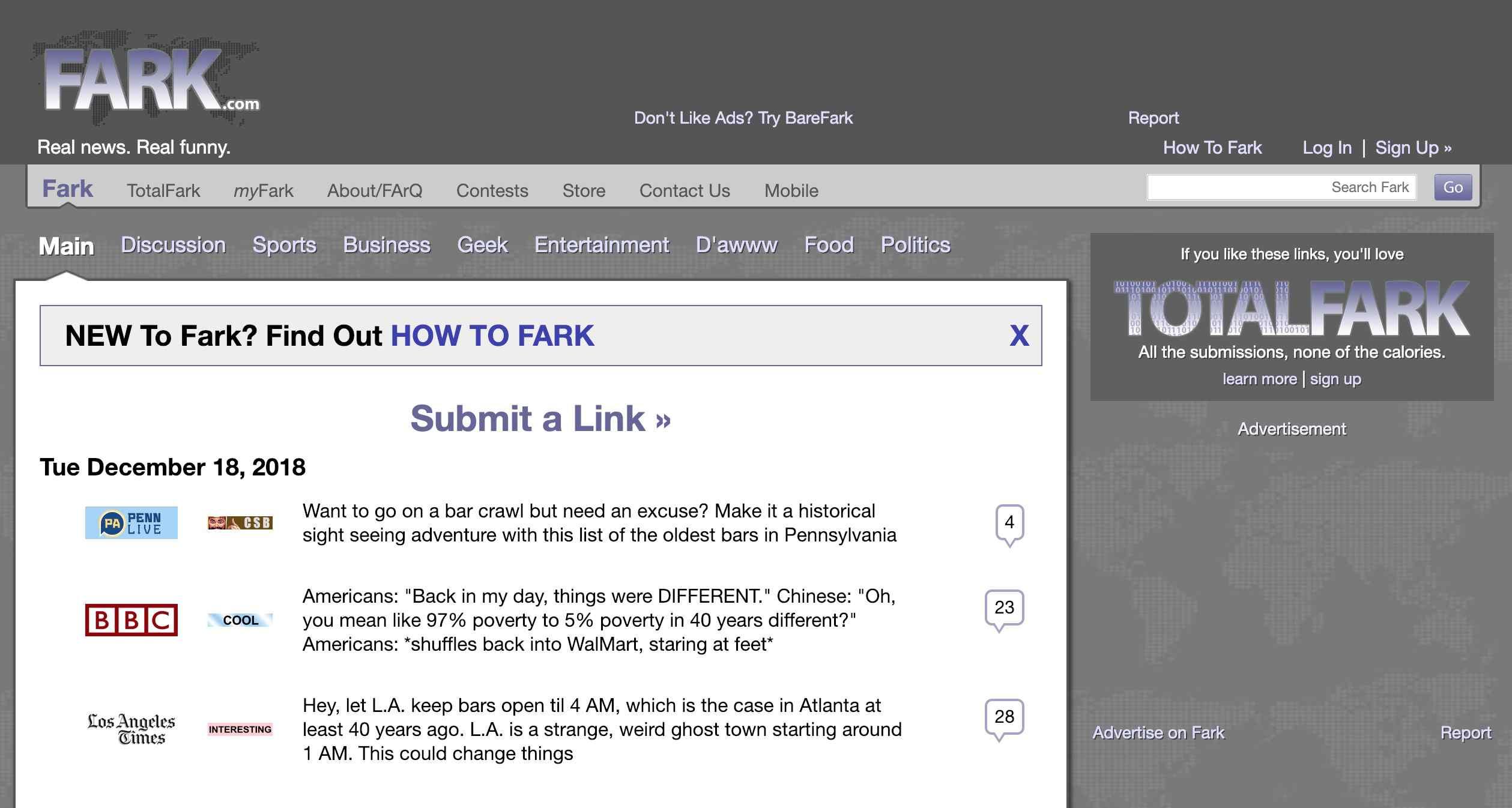 Fark homepage