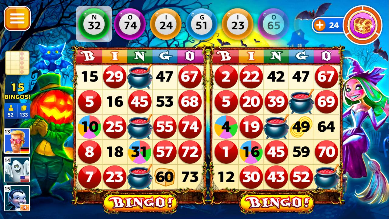 Screenshot of playing Halloween Bingo