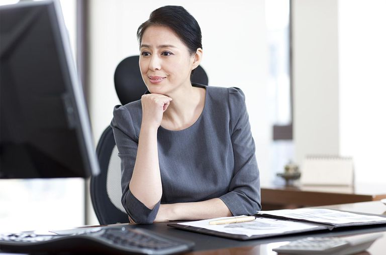 Businesswoman and computer