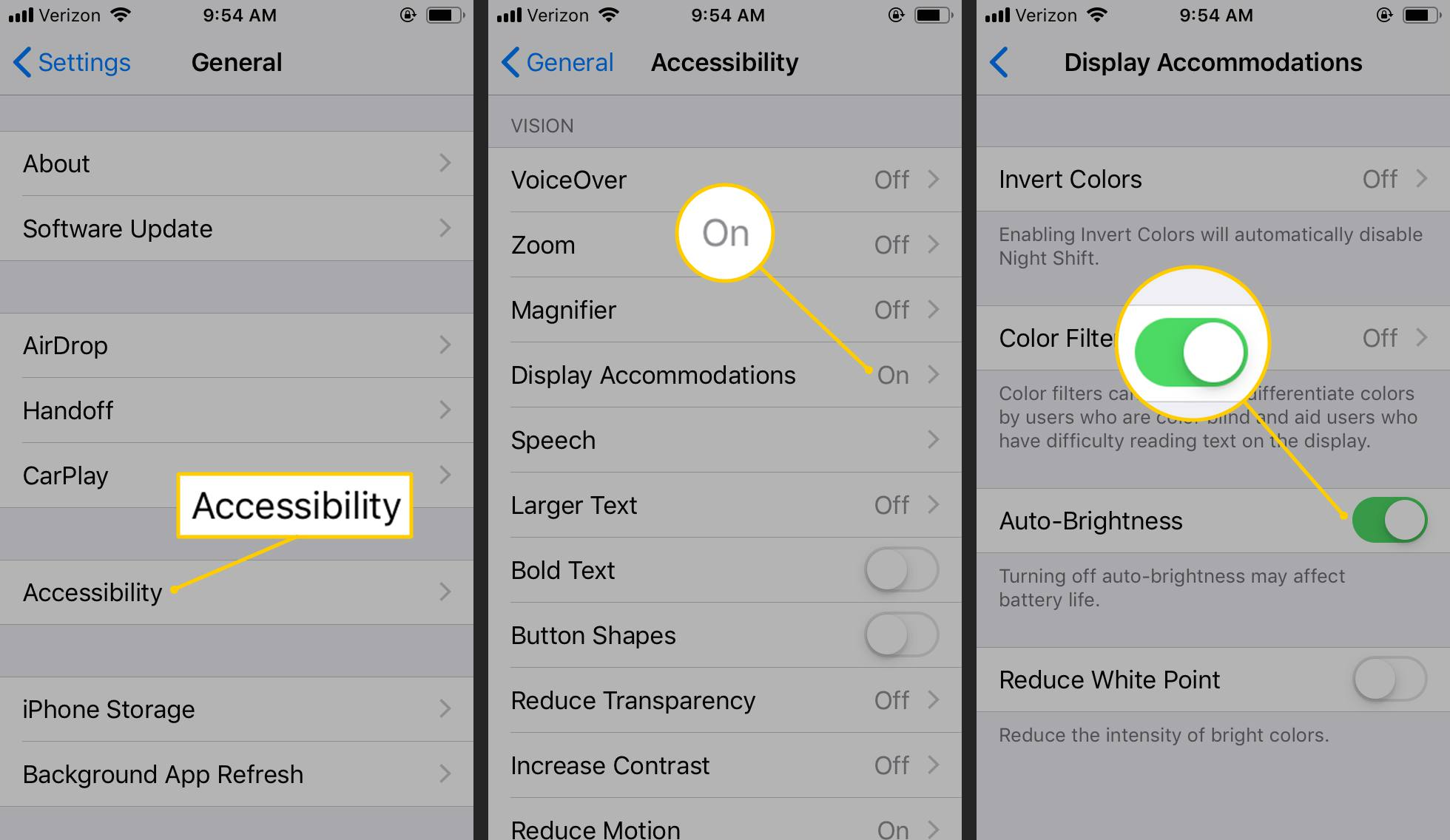 Accessibility, Display Accommodations, Auto-Brightness toggle