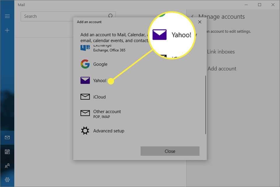 The Add an Account screen in Mail for Windows with Yahoo highlighted
