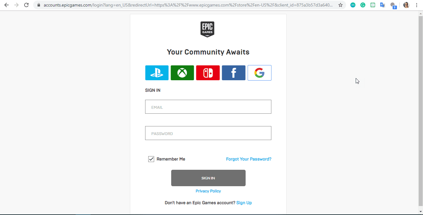 log in page for Epic Games website