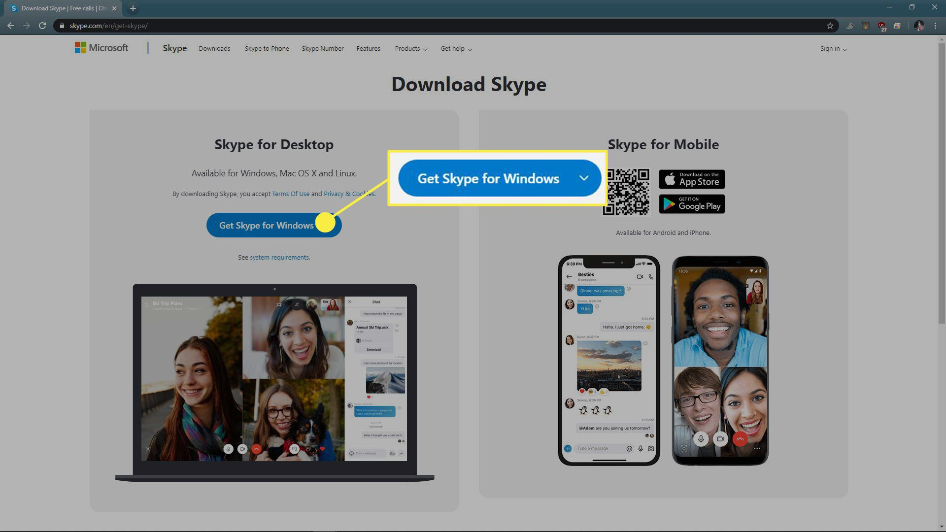 A screenshot of the Skype download page.