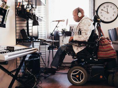 A musician in a recording studio
