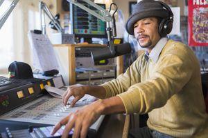 DJ with studio headphones on