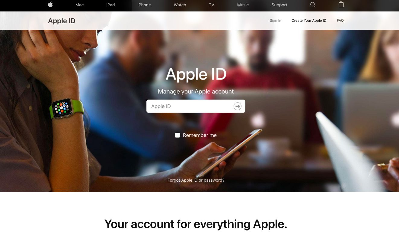 Apple ID home page