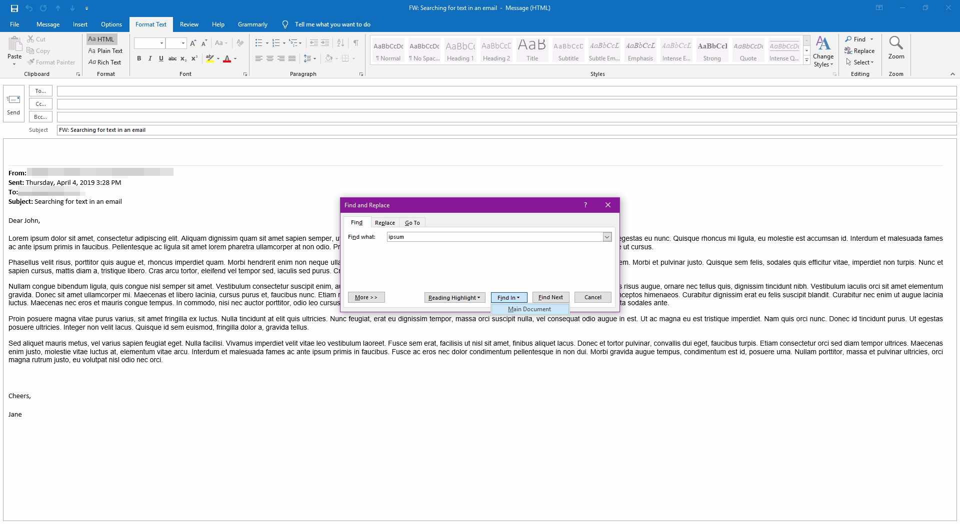 Searching through the main document in an Outlook email.