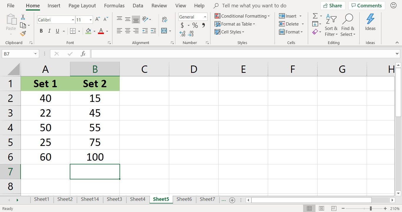 Screenshot showing tutorial data for the SUMPRODUCT function in Excel