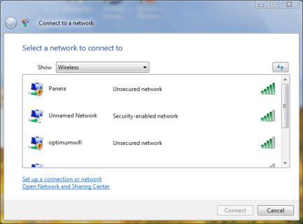Select the wireless network to connect to