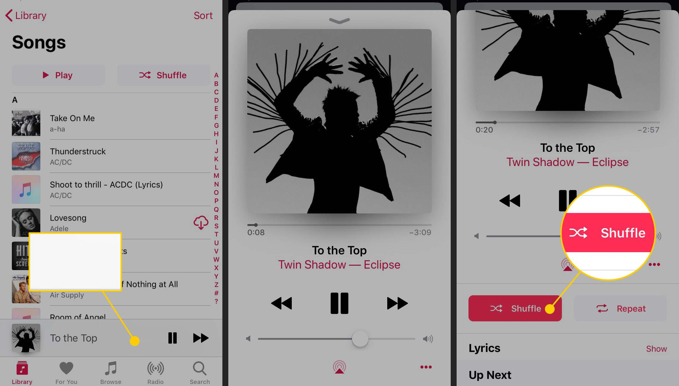 The shuffle option in Music on an iPhone