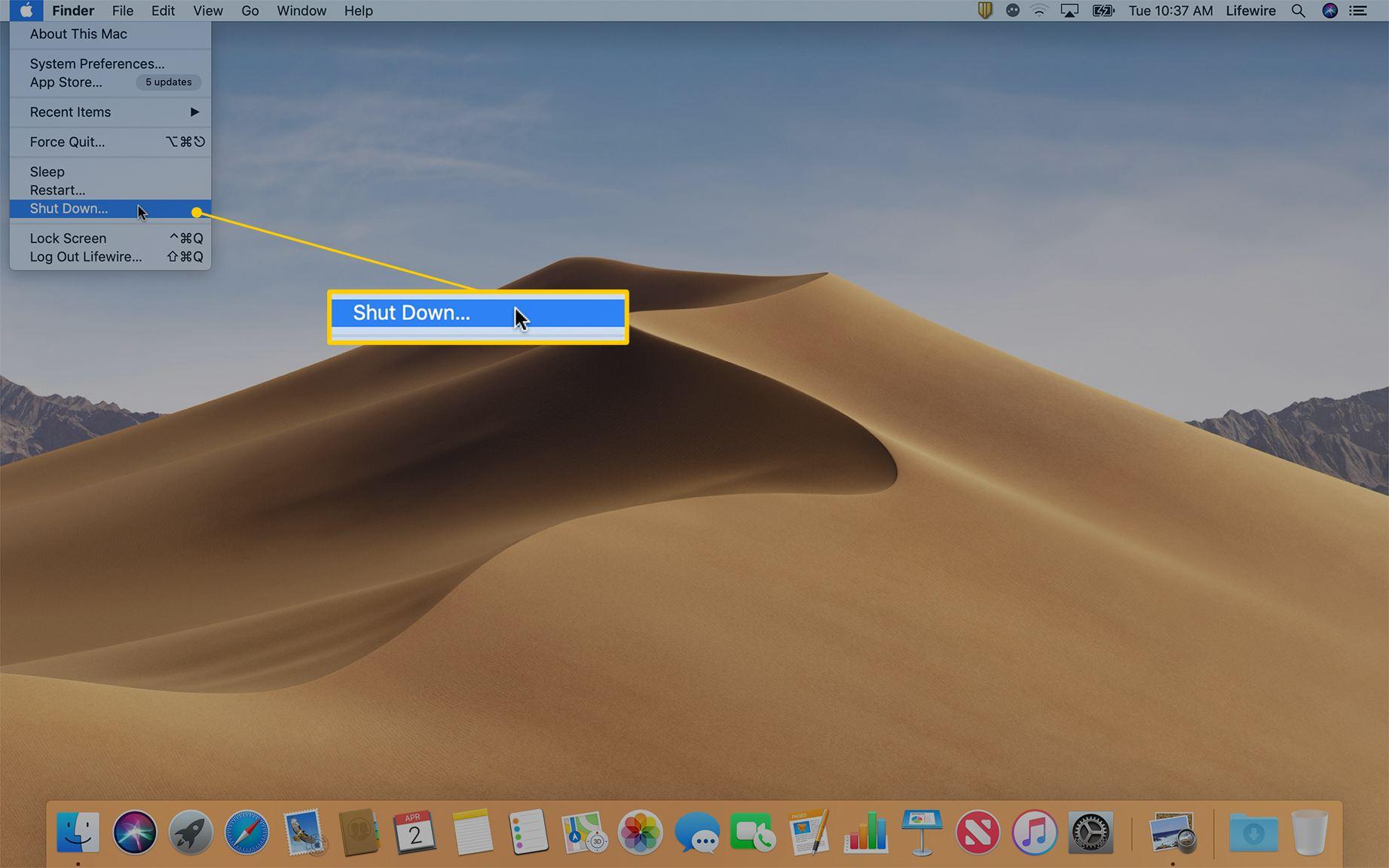 Shut Down option in Apple menu on macOS