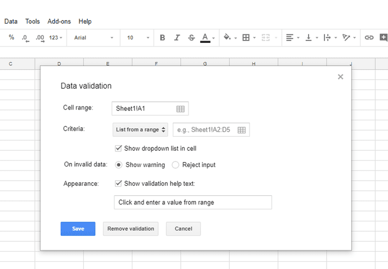 Google Sheets drop-down list