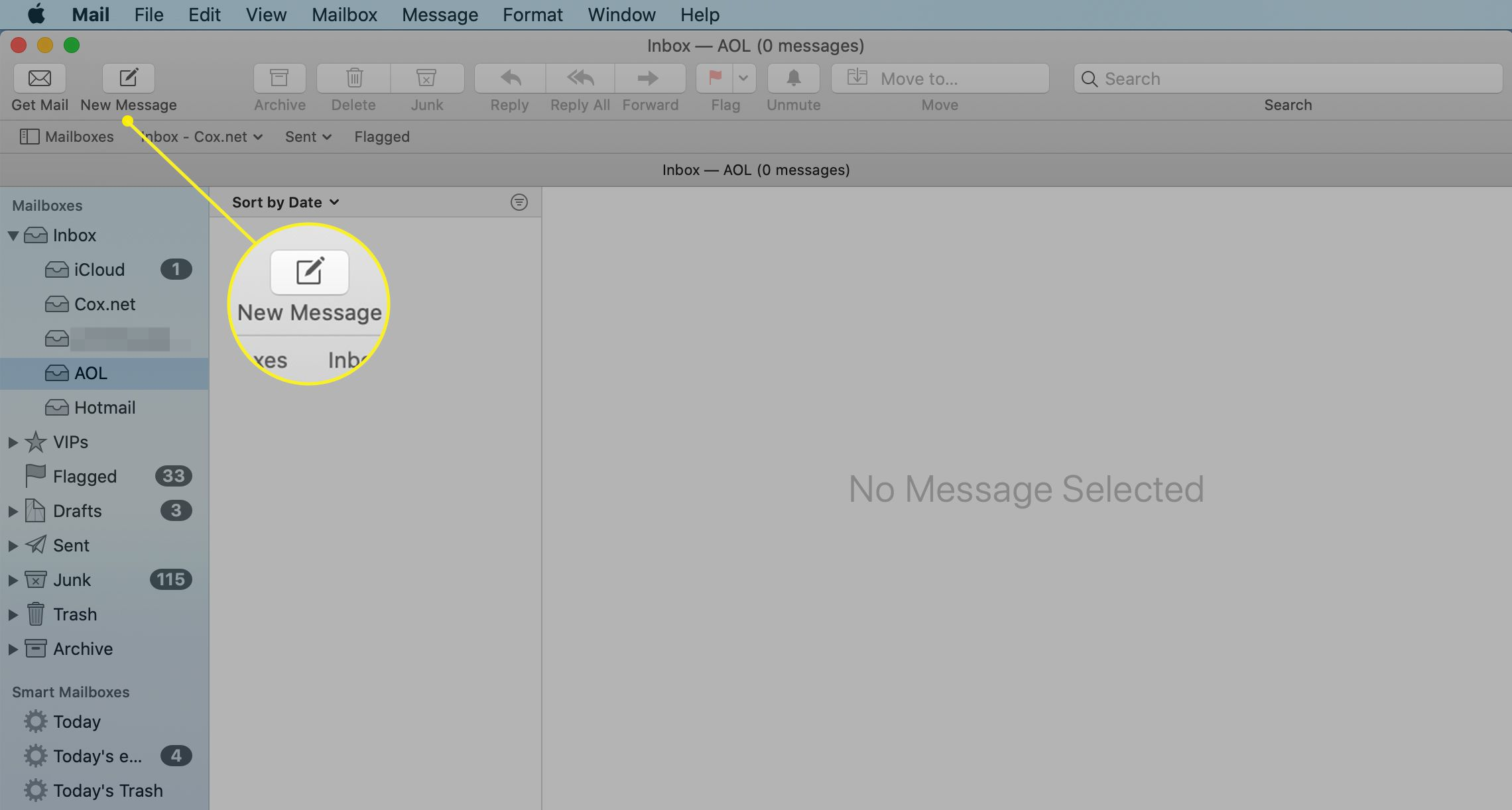 New Message icon in Mac Mail application