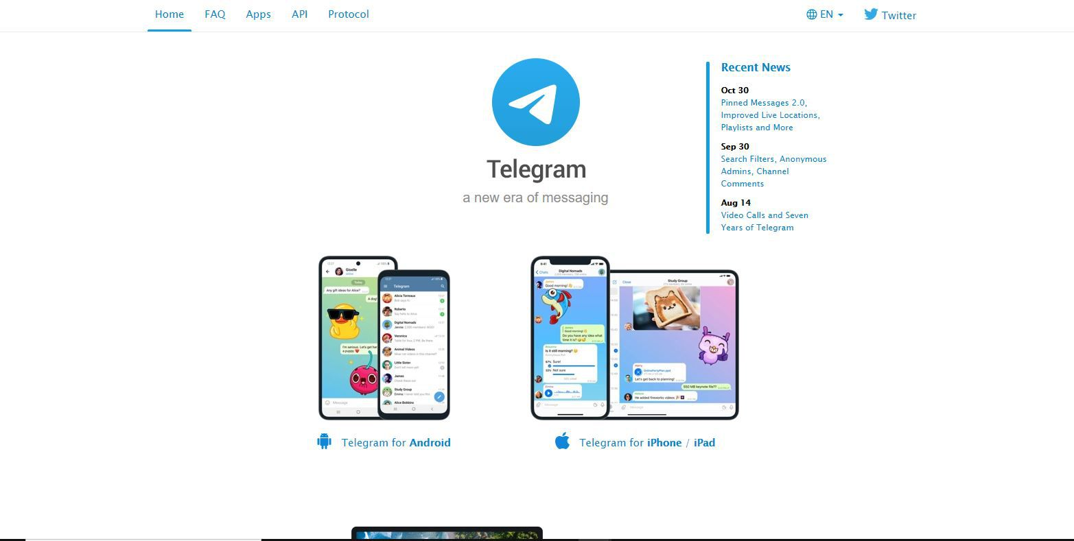 Telegram Messenger website