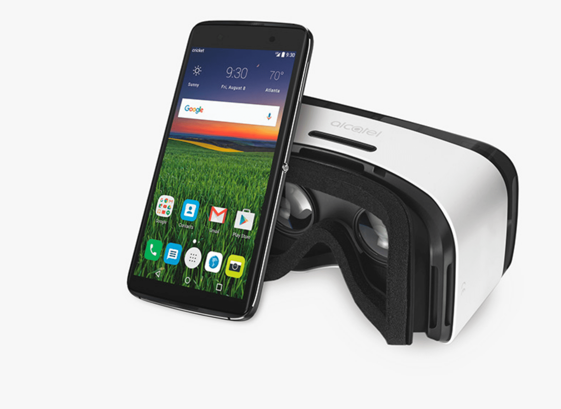 Alcatel One Touch Idol 4 phone next to a VR headset