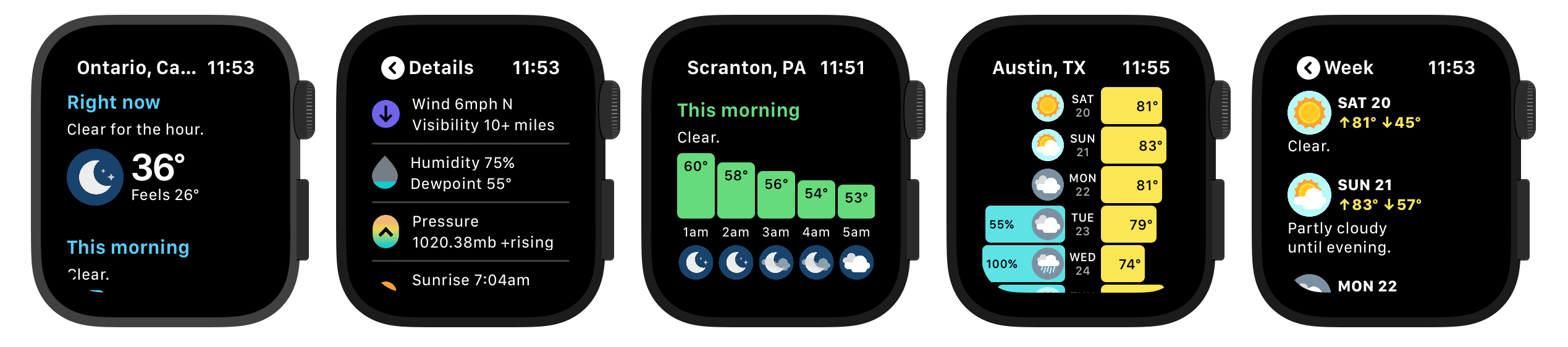 Various app widget and complication controls on apple watch
