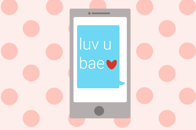 An illustration depicting a smartphone displaying a text message that uses the word 'bae'