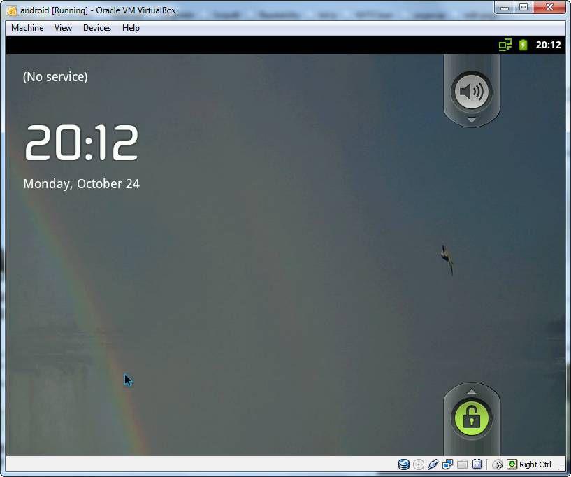 Android Lockscreen in VirtualBox