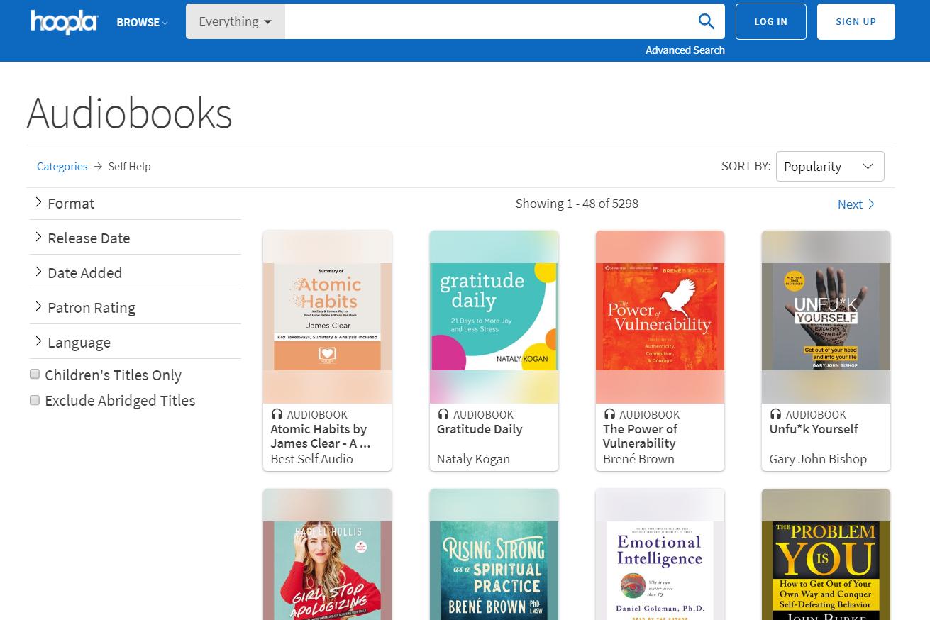 hoopla's self-help audiobook downloads