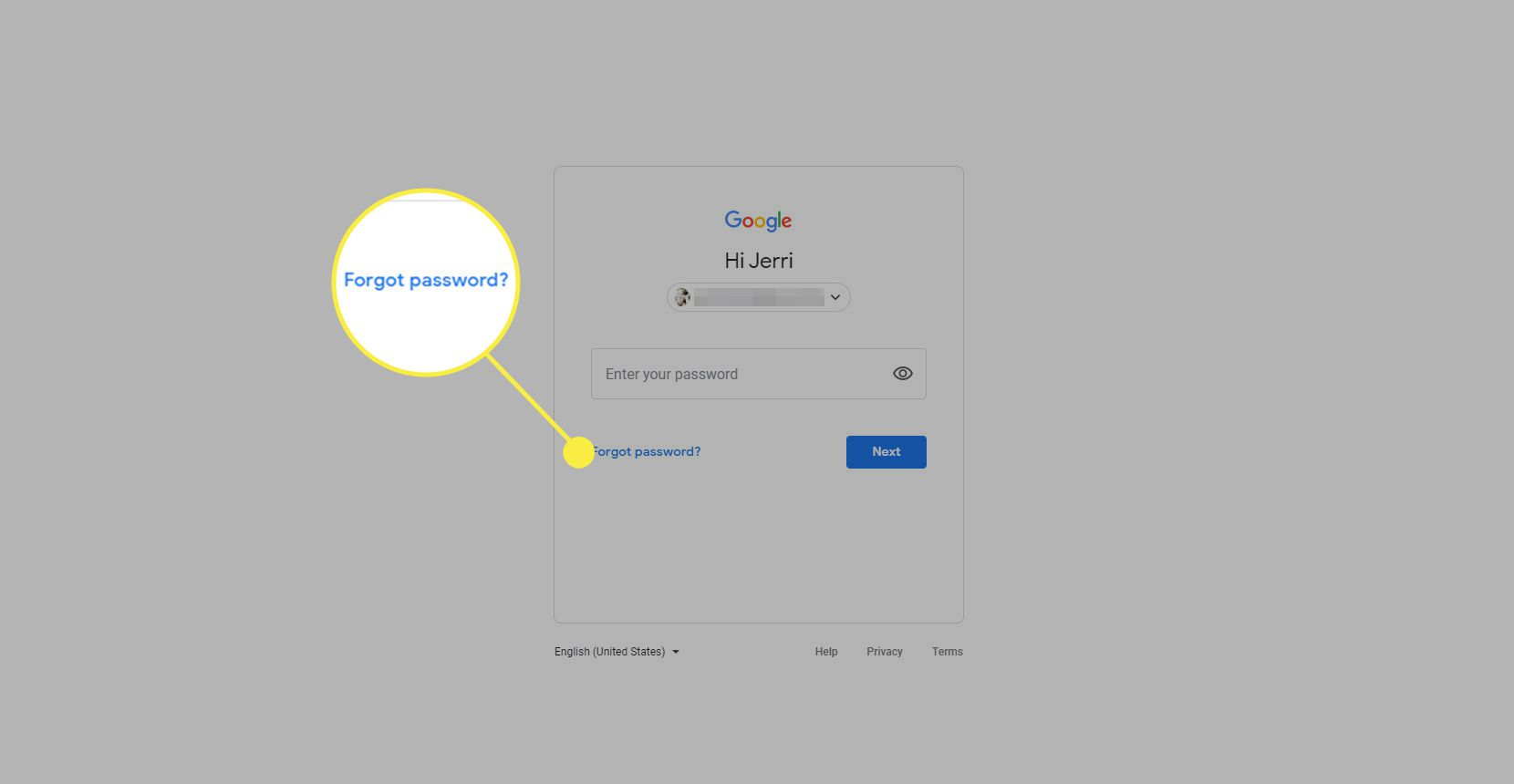 Screenshot of Forgot Password link on Gmail password recovery page