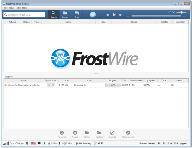 Screenshot of FrostWire v6 in Windows 7