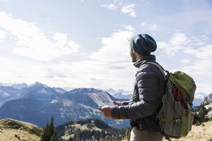 Man hiking on a mountain