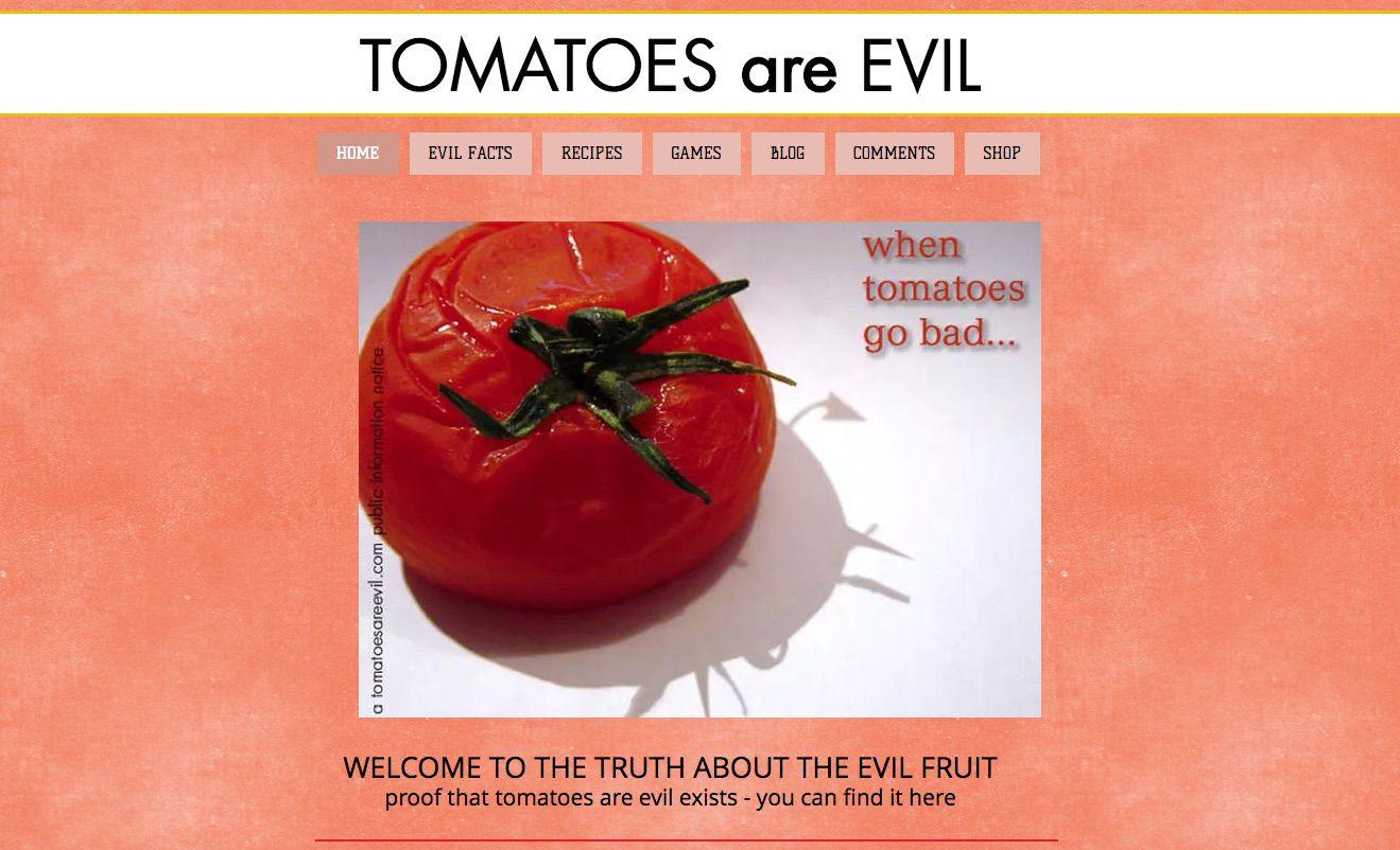 A screenshot of TomatoesAreEvil.com.