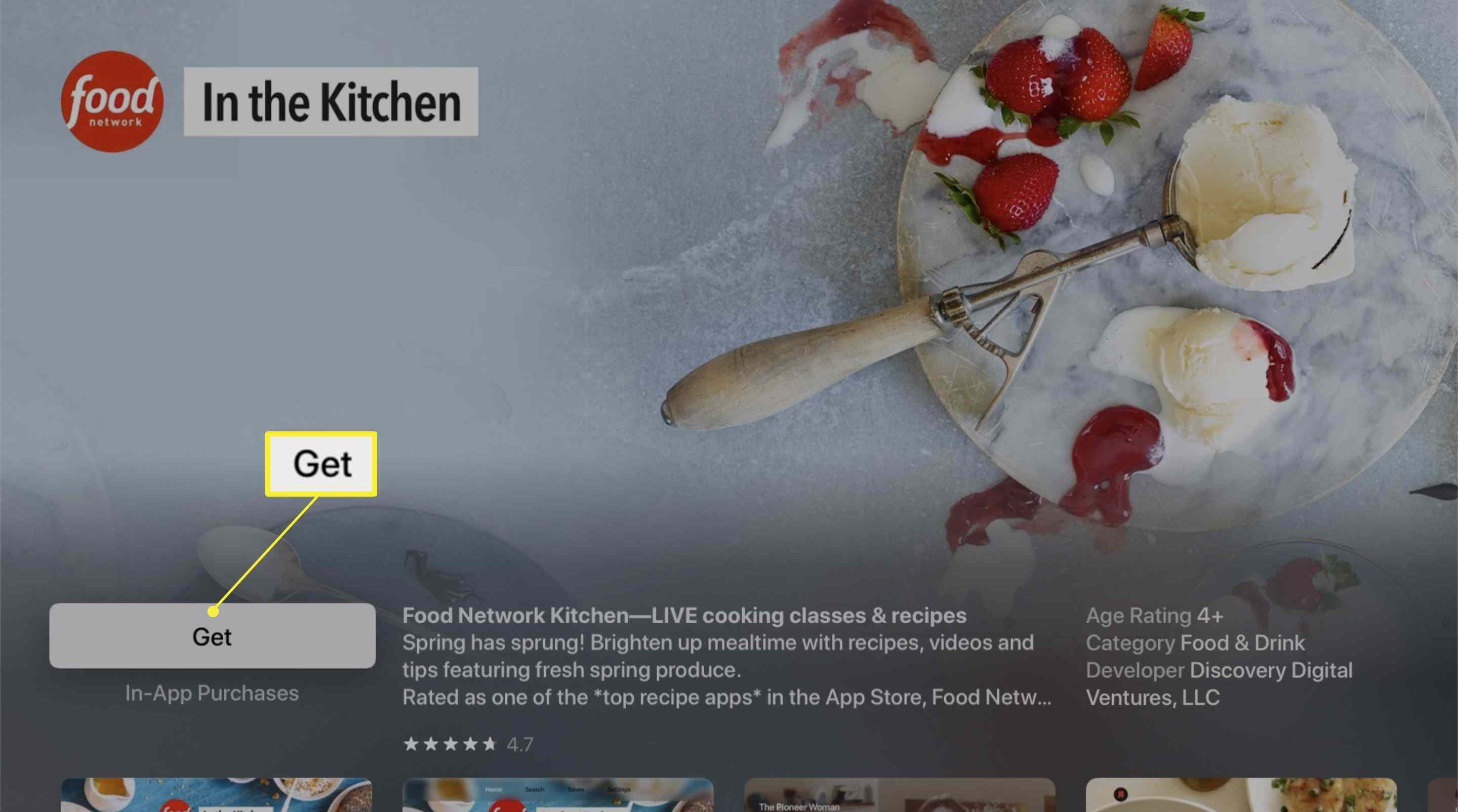 The Food Network app information screen for Apple TV