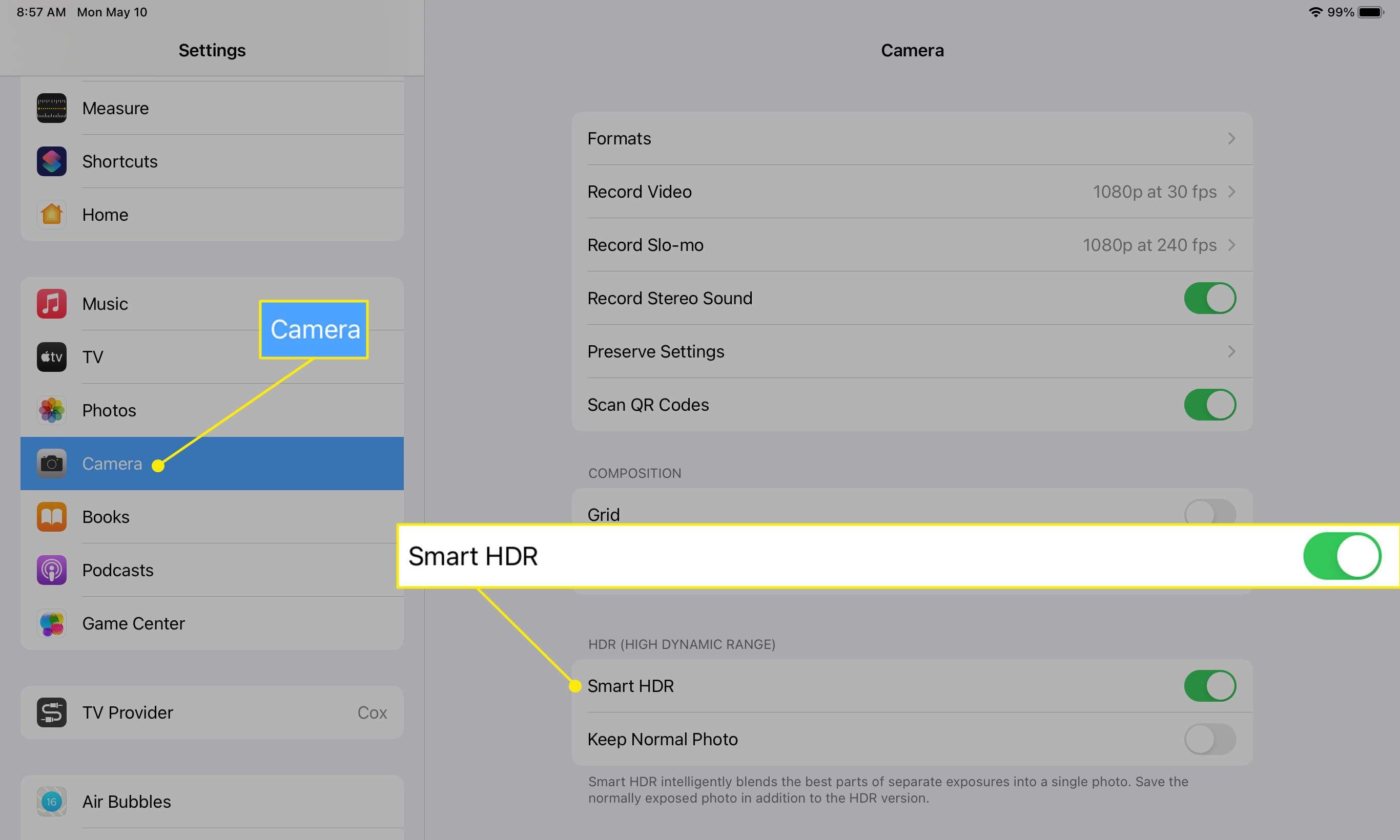 iPad Camera settings showing Smart HDR setting