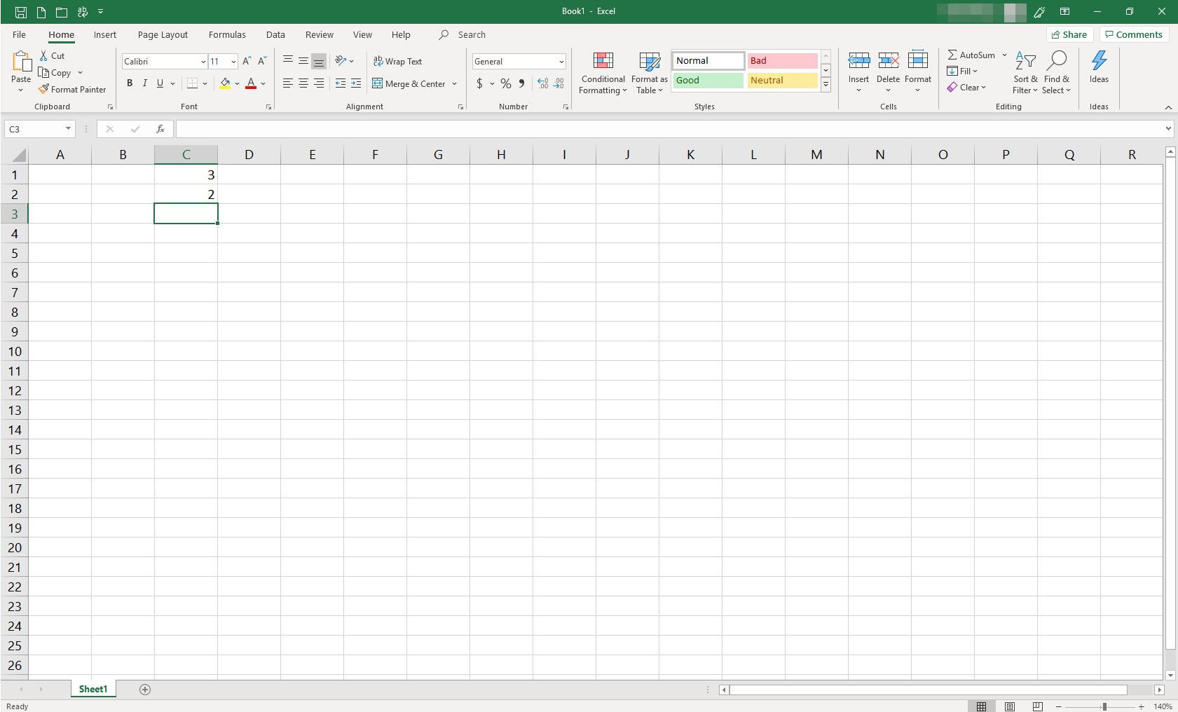 MS Excel spreadsheet with two cells populated with data