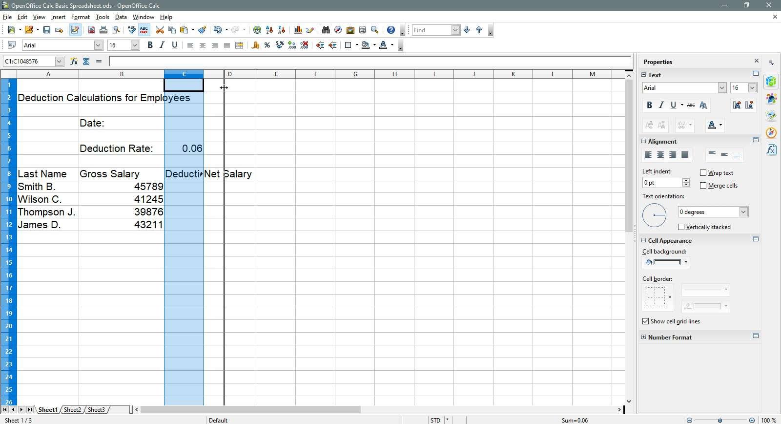 Widening the column in OpenOffice Calc.