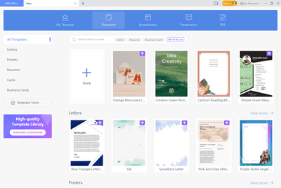 wps office document templates