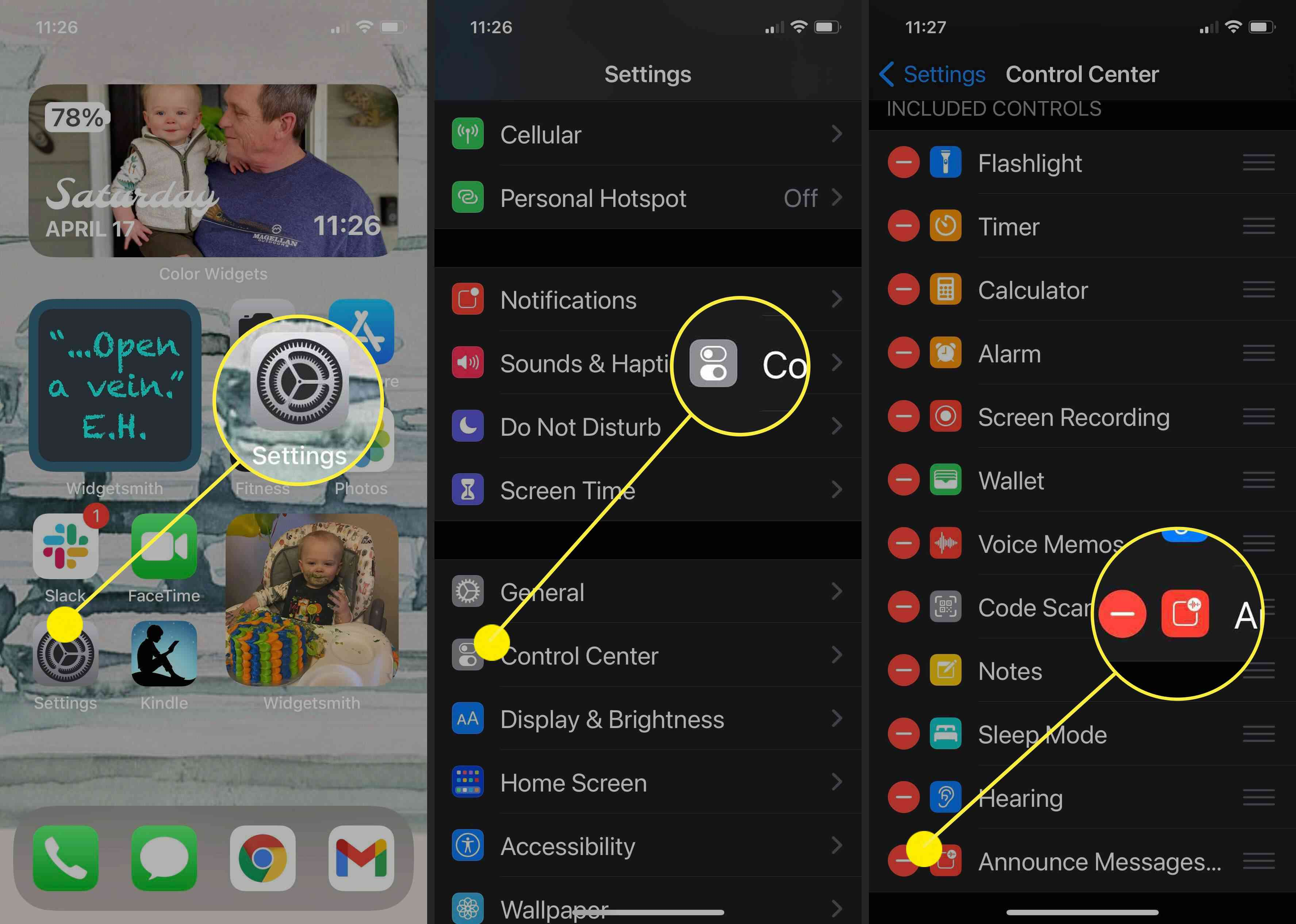 Screenshots showing how to disable Announce Messages with Siri on the iPhone.