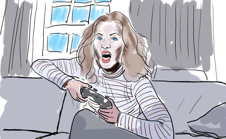 Illustration of a woman enthusiastically gaming