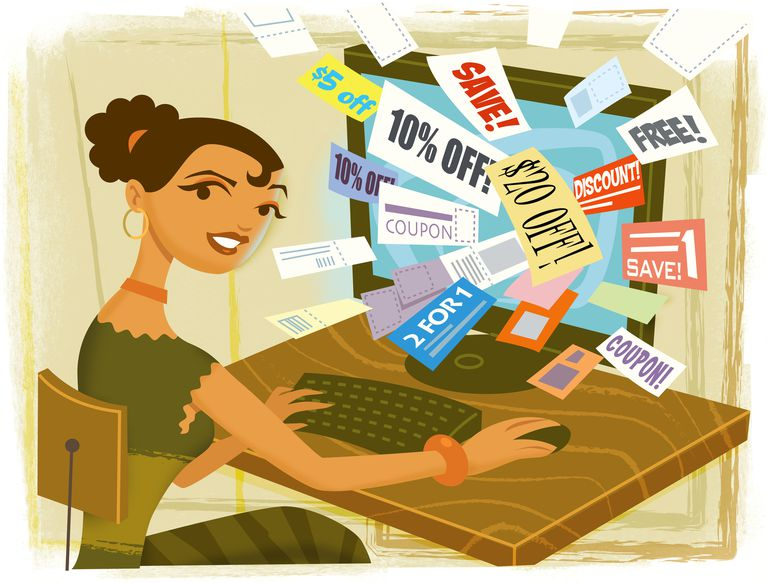 Woman finding coupons online.