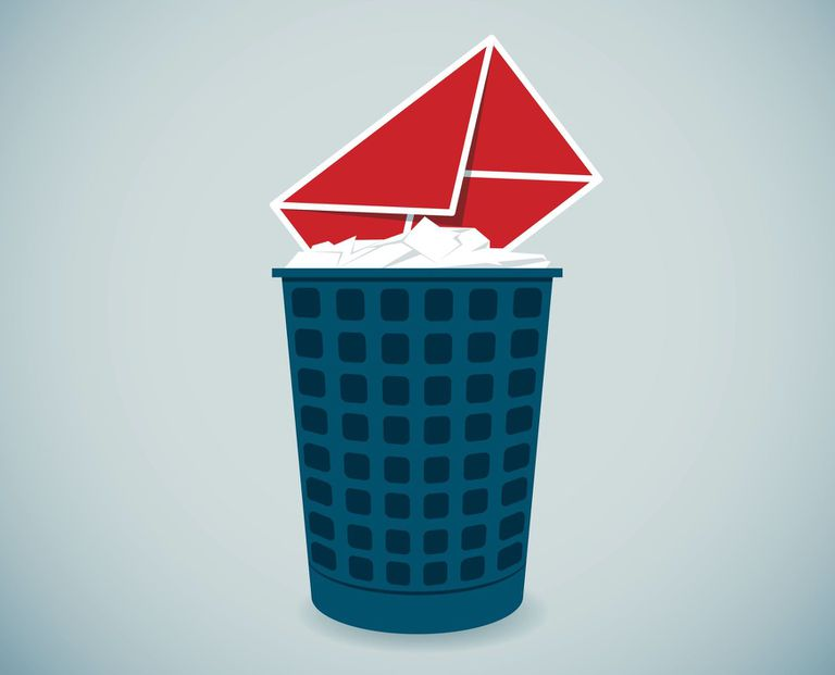 Illustration of email envelop in trash can
