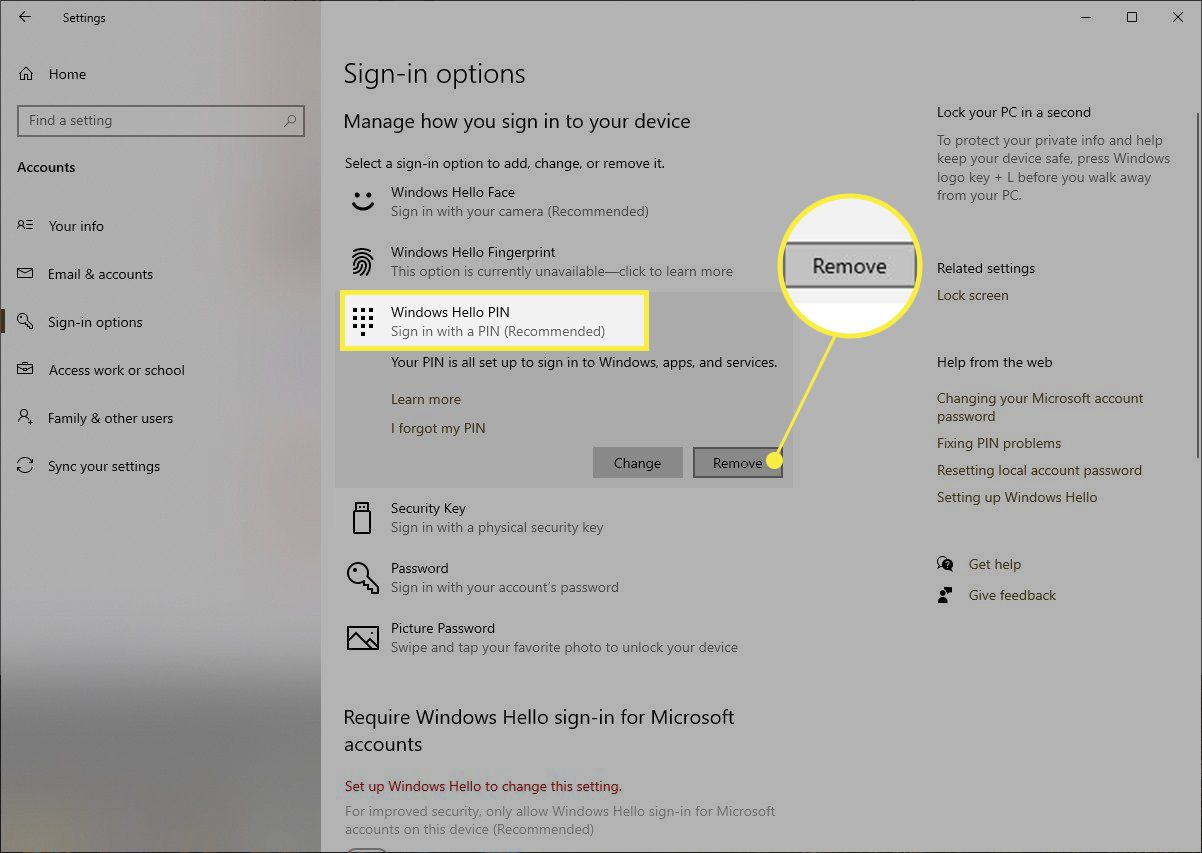 Windows Hello Pin settings with Remove highlighted