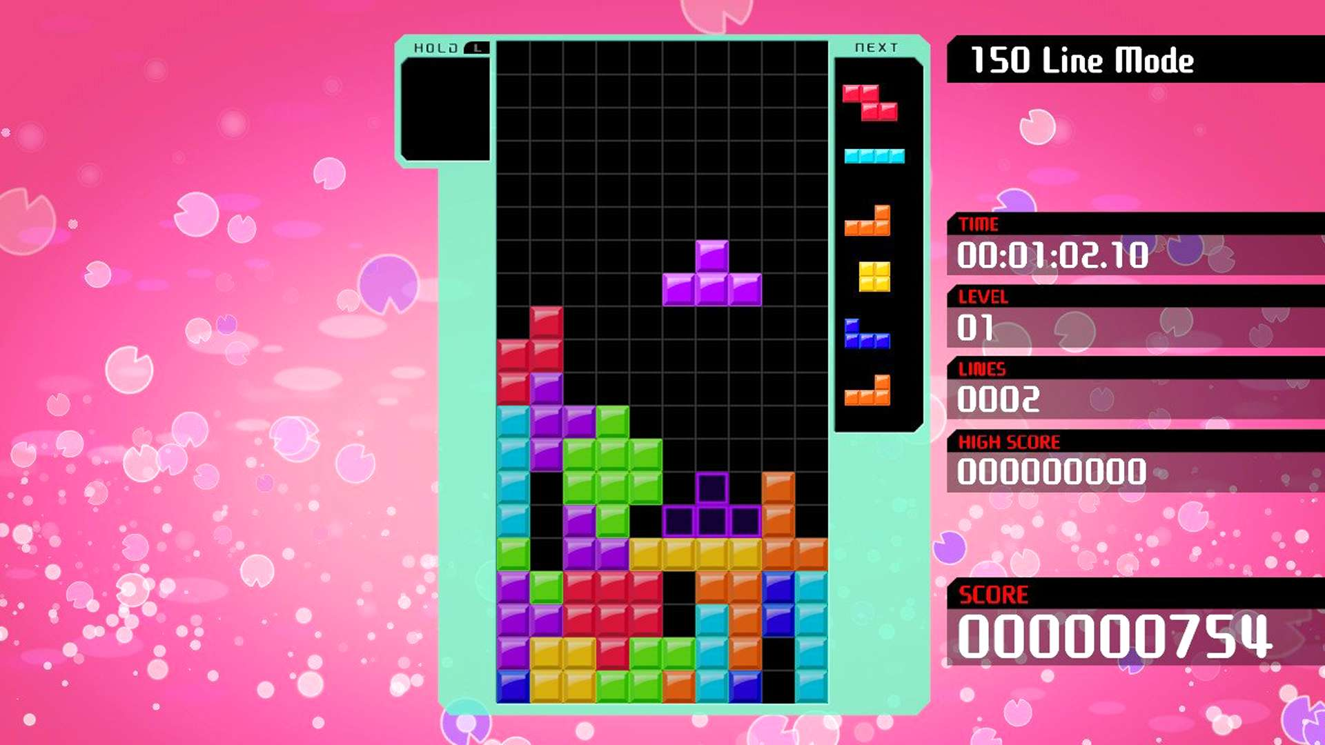 A T-block Tetromino in Tetris 99 on Nintendo Switch doing a T spin..