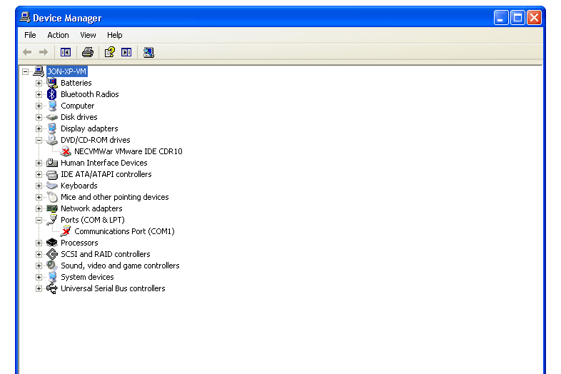 red x next to two devices in Windows XP Device Manager