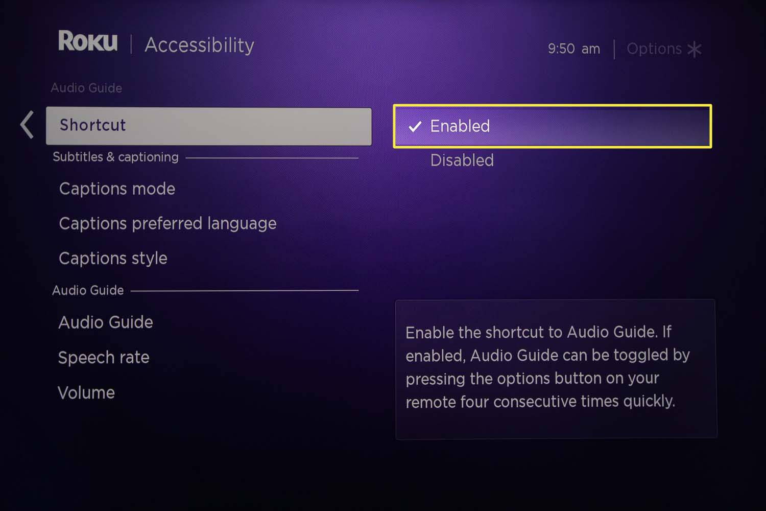 The Roku Audio Guide shortcut button set to enabled from the Accessibility menu.