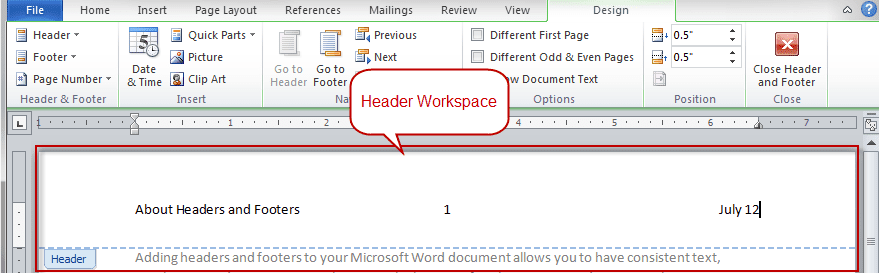Make the First Page Header or Footer Different in Word
