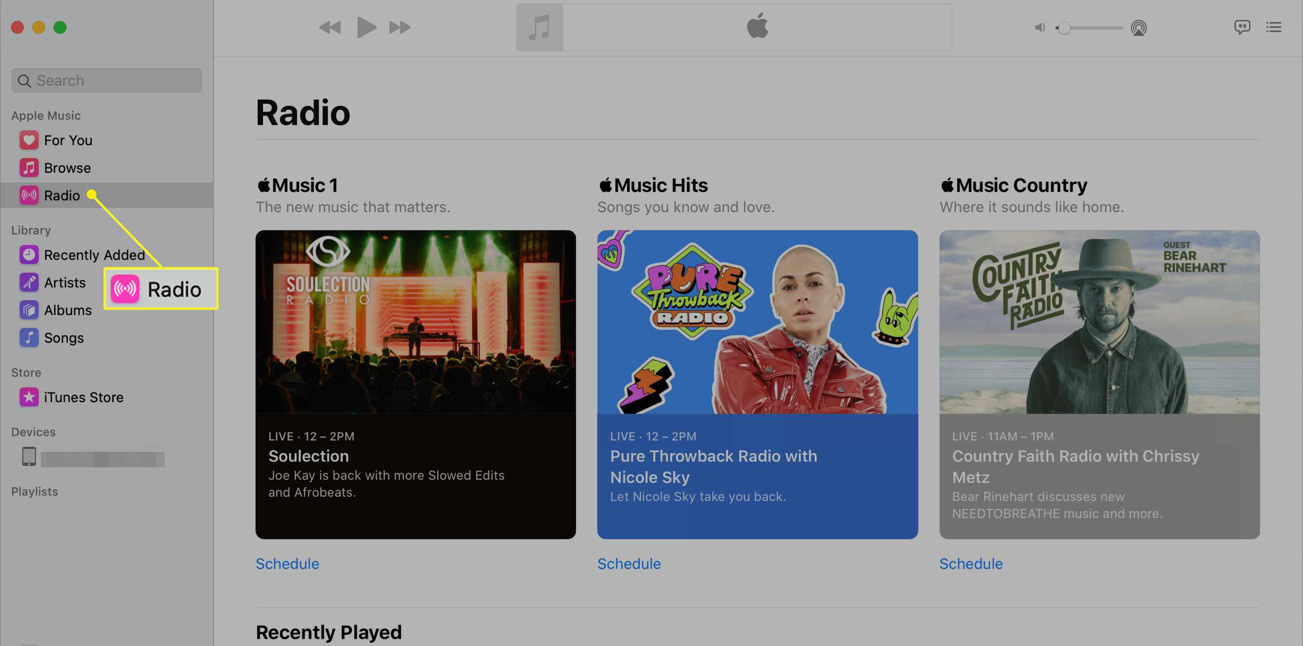 The Music app on a Mac with Radio highlighted