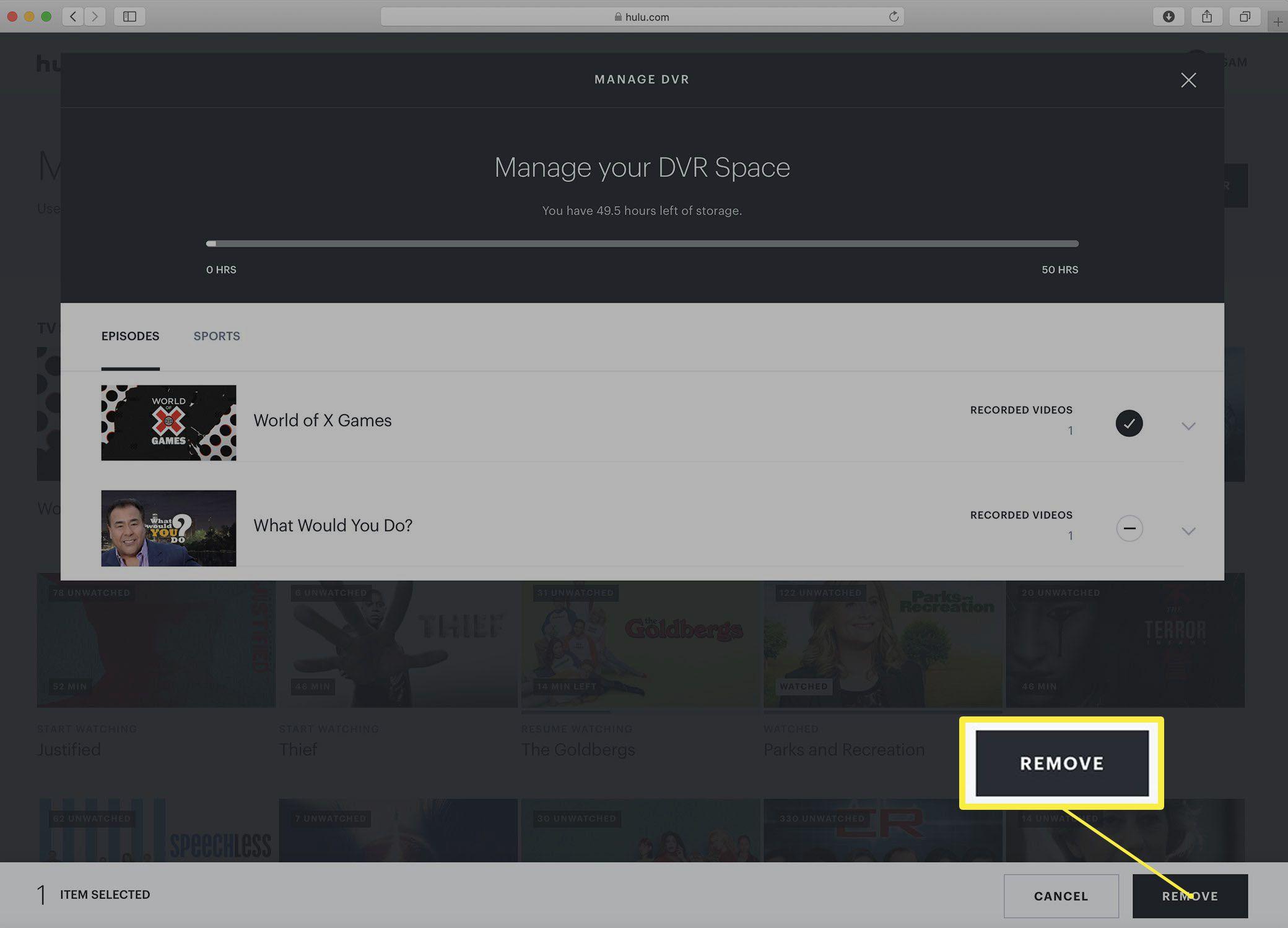 Screenshot of the Hulu Manage DVR screen.