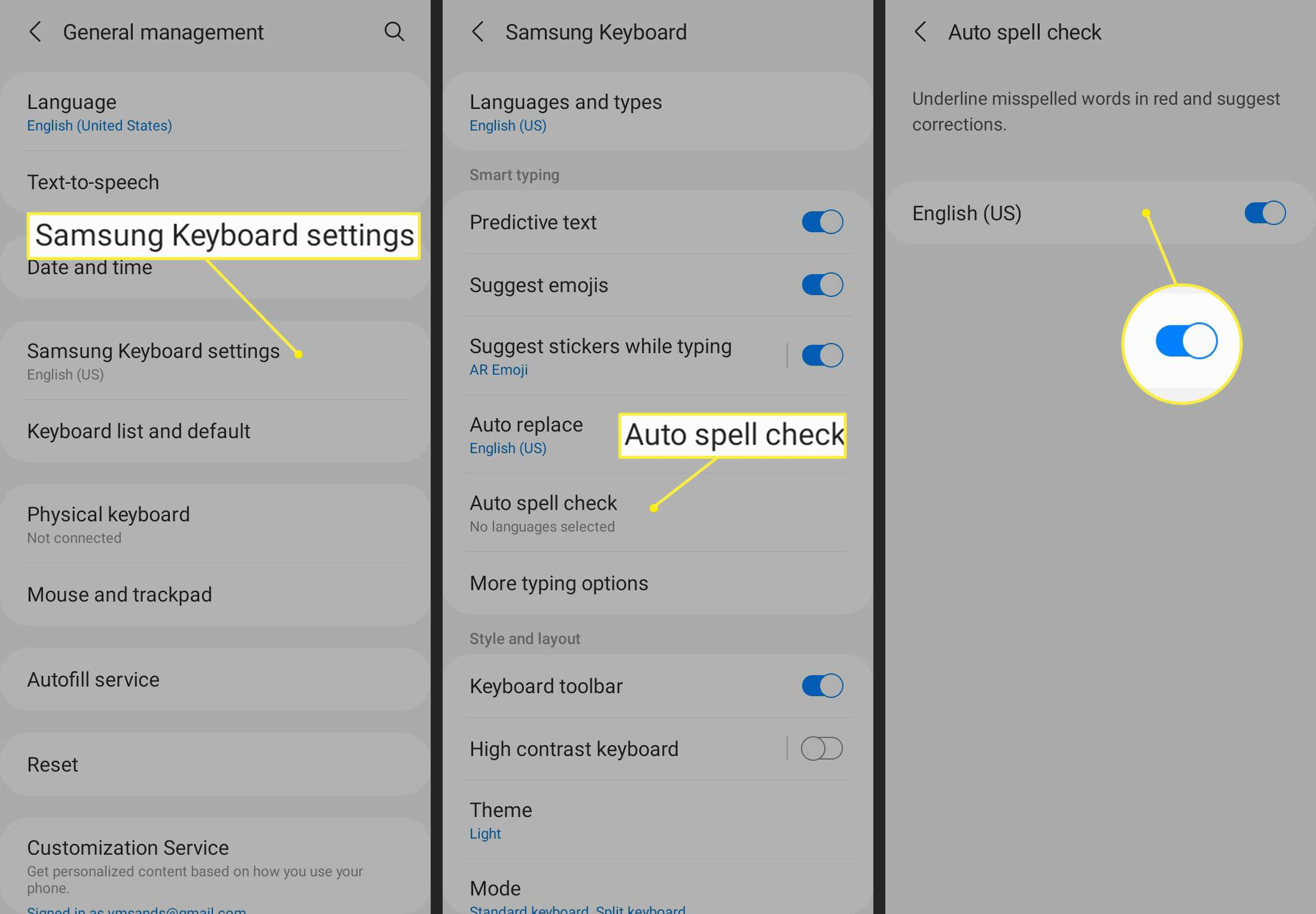 Samsung Keyboard settings > Auto spell check